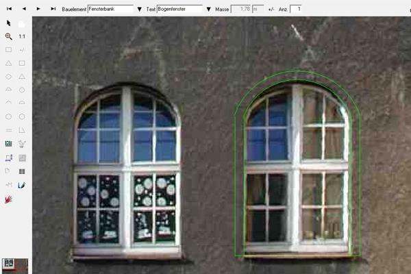 Mit BILDaufmaß, dem digitalen Fotoaufmaß von C.A.T.S.-Soft, lassen sich auch Bogenfenster im Handumdrehen aufmessen.