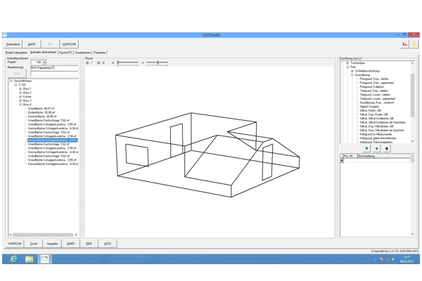 Das Raumaufmaß einer Dachgeschoßwohnung läßt sich mit CATSmobil spielend leicht erstellen.