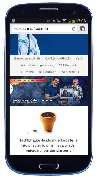 Beispiel einer Responsive Website: Darstellung von www.malersoftware.net auf Smartphone.
