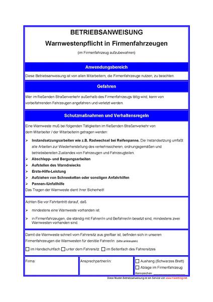 Malerhandwerk: Muster-Betriebsanweisung Warnwesten in Firmenfahrzeugen