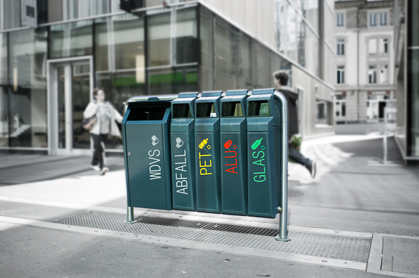 Recycling von Styropor-Dämmplatten.