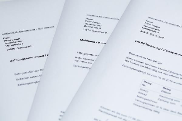Mahnwesen im Handwerksbetrieb: Das kaufmännische Mahnverfahren mit Unterstützung der betriebswirtschaftlichen Maler-Software C.A.T.S.-WARICUM