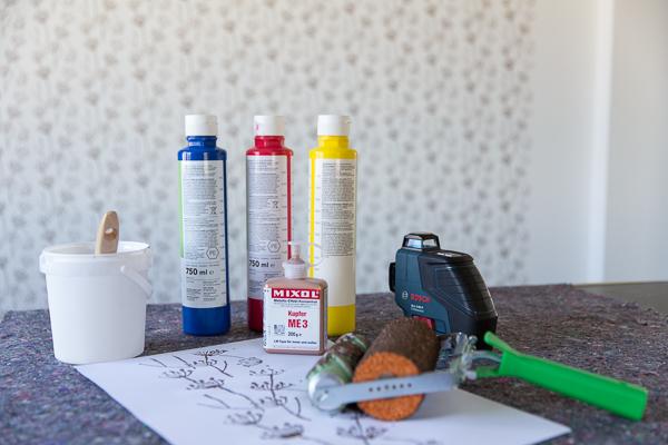 Verwendete Arbeitsgeräte und Produkte