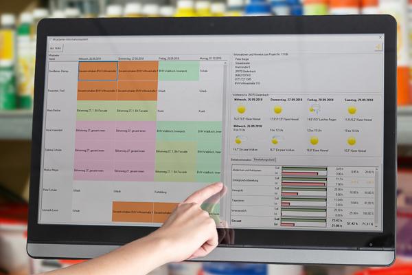 Wichtige Baustellen-Informationen werden für den Maler und Stuckateur am Bildschirm sichtbar.