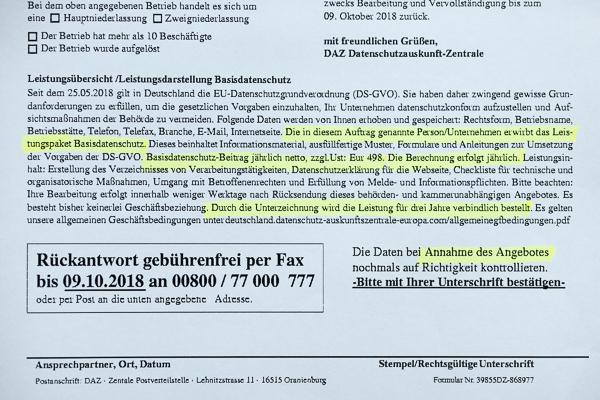 Vorsicht: Fax der Datenschutz-Auskunftzentrale
