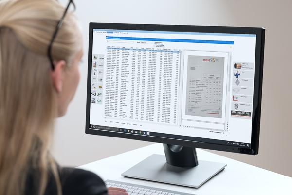 Mit der App DokuScan digitalisierte Dokumente werden automatisch in der betriebswirtschaftlichen Maler-Software abgelegt.