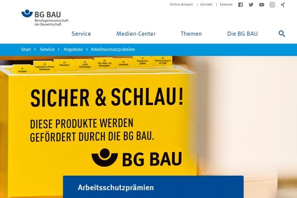 Arbeitsschutzprämien, Screenshot BG Bau