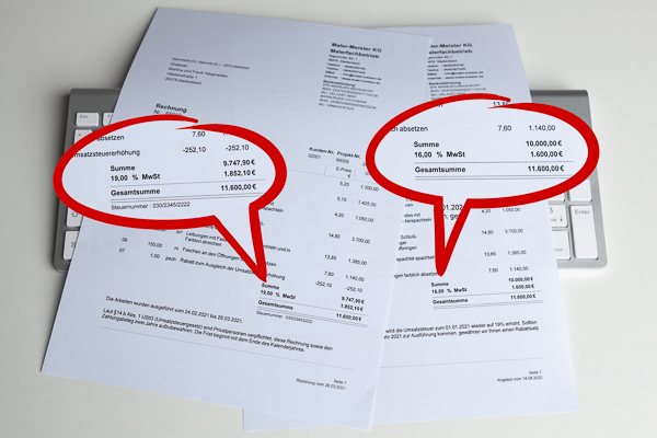 Mehrwertsteuersenkung: Angebot-Rechnung