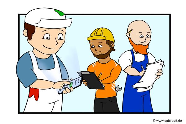 Cartoon-Zeichnung: Der Maler-Chef nimmt an einer Baustellenbesprechung teil.
