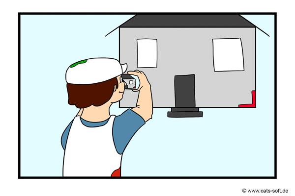 Cartoon-Zeichnung: Der Maler-Chef fotografiert Hausfassade mit Smartphone zur Aufmaßerstellung