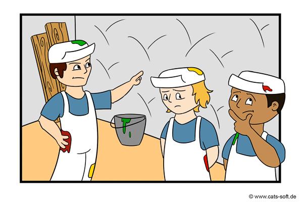 Cartoon-Zeichnung: Der Maler-Chef kontrolliert die Arbeit seiner Gesellen auf der Baustelle.