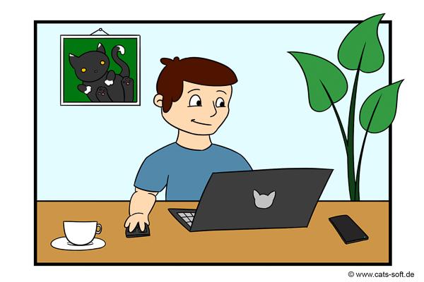 Cartoon-Zeichnung: Der Maler-Chef arbeitet am Abend von Zuhause aus. Er macht Homeoffice.