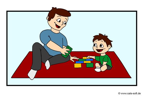 Cartoon-Zeichnung: Der Maler-Chef ist auch Vater. Spielzeit mit dem Sohn.
